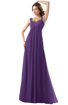 ColsBM Diana Dark Purple Modest Empire Thick Straps Zipper Floor Length Ruching Prom Dresses