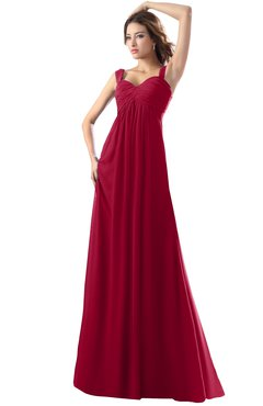 ColsBM Diana Dark Red Modest Empire Thick Straps Zipper Floor Length Ruching Prom Dresses
