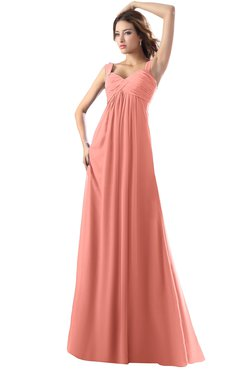 ColsBM Diana Desert Flower Modest Empire Thick Straps Zipper Floor Length Ruching Prom Dresses