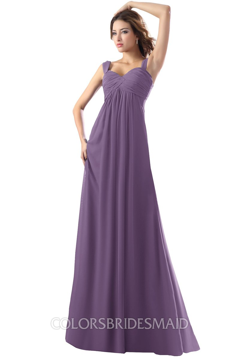 63463cbb648 ColsBM Diana Eggplant Modest Empire Thick Straps Zipper Floor Length  Ruching Prom Dresses