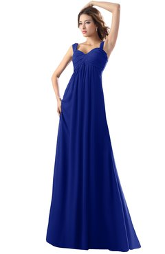 ColsBM Diana Electric Blue Modest Empire Thick Straps Zipper Floor Length Ruching Prom Dresses