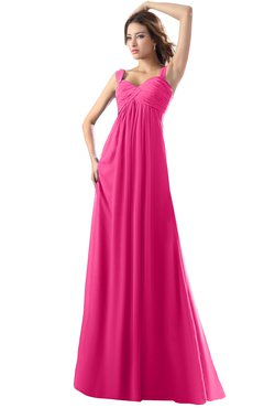 ColsBM Diana Fandango Pink Modest Empire Thick Straps Zipper Floor Length Ruching Prom Dresses