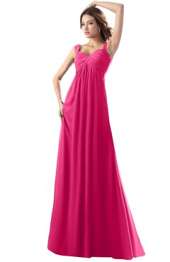 ColsBM Diana Fuschia Modest Empire Thick Straps Zipper Floor Length Ruching Prom Dresses