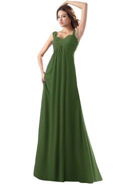 ColsBM Diana Garden Green Modest Empire Thick Straps Zipper Floor Length Ruching Prom Dresses