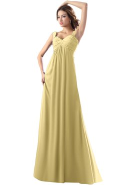 ColsBM Diana Gold Modest Empire Thick Straps Zipper Floor Length Ruching Prom Dresses