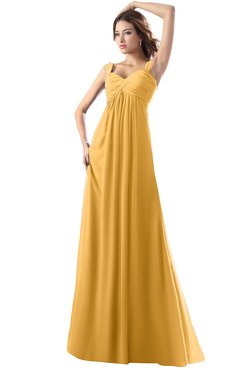ColsBM Diana Golden Cream Modest Empire Thick Straps Zipper Floor Length Ruching Prom Dresses