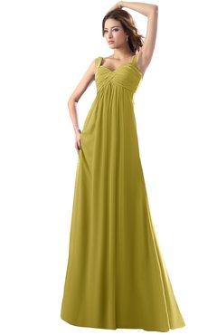 ColsBM Diana Golden Olive Modest Empire Thick Straps Zipper Floor Length Ruching Prom Dresses