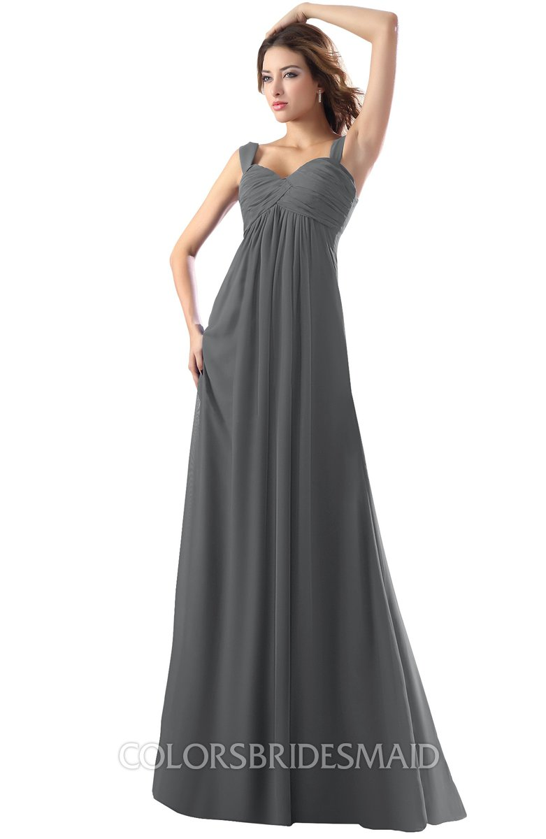 0902757cb35c6 ColsBM Diana Grey Modest Empire Thick Straps Zipper Floor Length Ruching Prom  Dresses