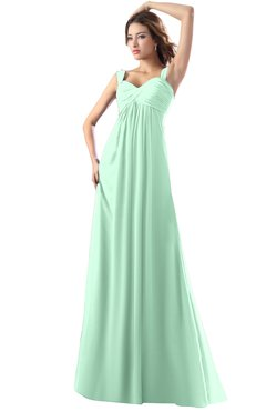 ColsBM Diana Honeydew Modest Empire Thick Straps Zipper Floor Length Ruching Prom Dresses