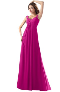 ColsBM Diana Hot Pink Modest Empire Thick Straps Zipper Floor Length Ruching Prom Dresses
