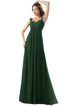 ColsBM Diana Hunter Green Modest Empire Thick Straps Zipper Floor Length Ruching Prom Dresses