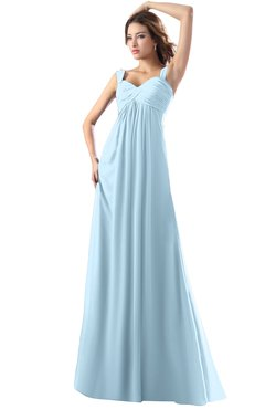 ColsBM Diana Ice Blue Modest Empire Thick Straps Zipper Floor Length Ruching Prom Dresses