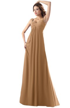 ColsBM Diana Light Brown Modest Empire Thick Straps Zipper Floor Length Ruching Prom Dresses