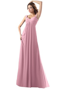 ColsBM Diana Light Coral Modest Empire Thick Straps Zipper Floor Length Ruching Prom Dresses