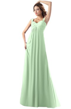 ColsBM Diana Light Green Modest Empire Thick Straps Zipper Floor Length Ruching Prom Dresses