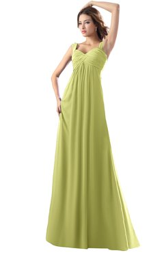 ColsBM Diana Linden Green Modest Empire Thick Straps Zipper Floor Length Ruching Prom Dresses