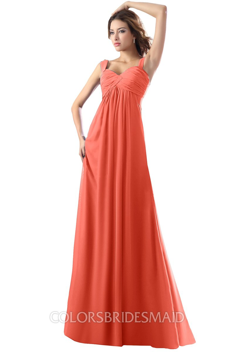0808193302f26 ColsBM Diana Living Coral Modest Empire Thick Straps Zipper Floor Length  Ruching Prom Dresses