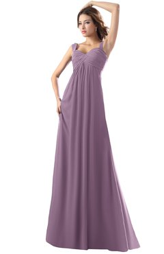 ColsBM Diana Mauve Modest Empire Thick Straps Zipper Floor Length Ruching Prom Dresses