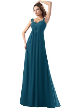 ColsBM Diana Moroccan Blue Modest Empire Thick Straps Zipper Floor Length Ruching Prom Dresses