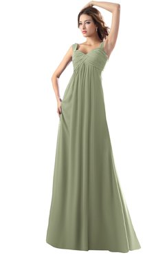 ColsBM Diana Moss Green Modest Empire Thick Straps Zipper Floor Length Ruching Prom Dresses