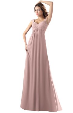 ColsBM Diana Nectar Pink Modest Empire Thick Straps Zipper Floor Length Ruching Prom Dresses