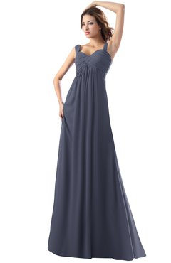 ColsBM Diana Nightshadow Blue Modest Empire Thick Straps Zipper Floor Length Ruching Prom Dresses