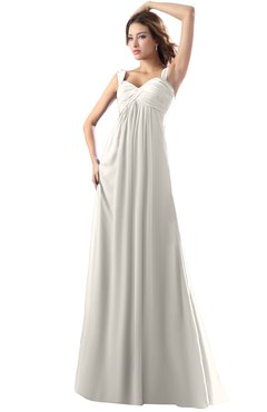 ColsBM Diana Off White Modest Empire Thick Straps Zipper Floor Length Ruching Prom Dresses