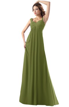 ColsBM Diana Olive Green Modest Empire Thick Straps Zipper Floor Length Ruching Prom Dresses