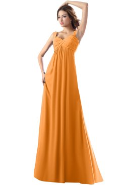 ColsBM Diana Orange Modest Empire Thick Straps Zipper Floor Length Ruching Prom Dresses