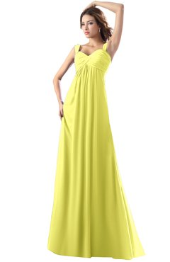 ColsBM Diana Pale Yellow Modest Empire Thick Straps Zipper Floor Length Ruching Prom Dresses