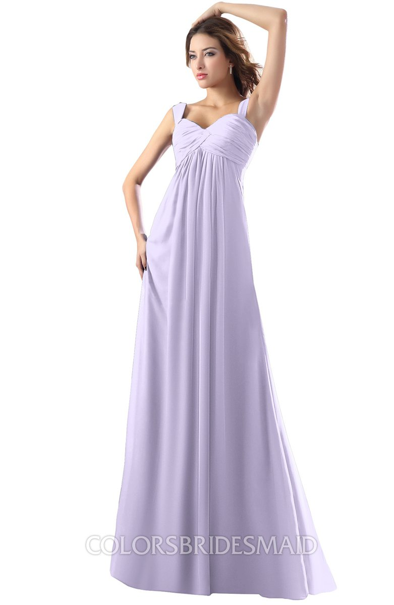 9019a6260ef73 ColsBM Diana Pastel Lilac Modest Empire Thick Straps Zipper Floor Length  Ruching Prom Dresses
