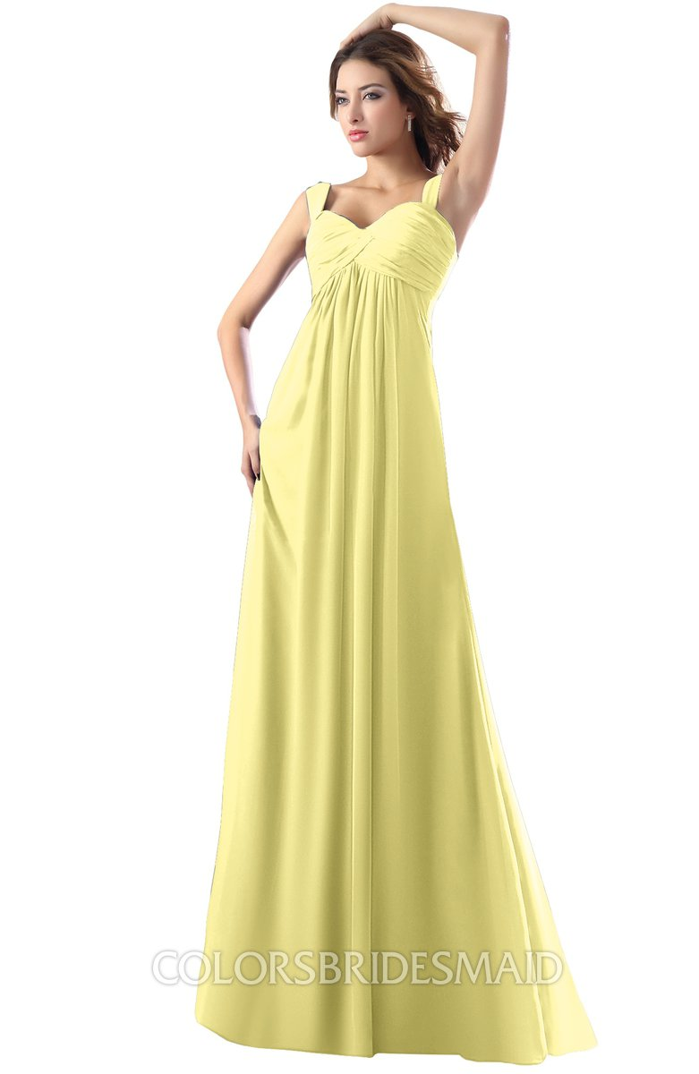 ColsBM Diana Pastel Yellow Modest Empire Thick Straps Zipper Floor Length Ruching Prom Dresses