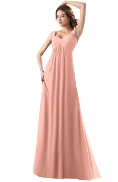 Modest Empire Thick Straps Zipper Floor Length Ruching Prom Dresses