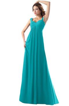 ColsBM Diana Peacock Blue Modest Empire Thick Straps Zipper Floor Length Ruching Prom Dresses