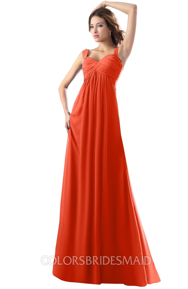 da1d67c235af ColsBM Diana Persimmon Modest Empire Thick Straps Zipper Floor Length  Ruching Prom Dresses