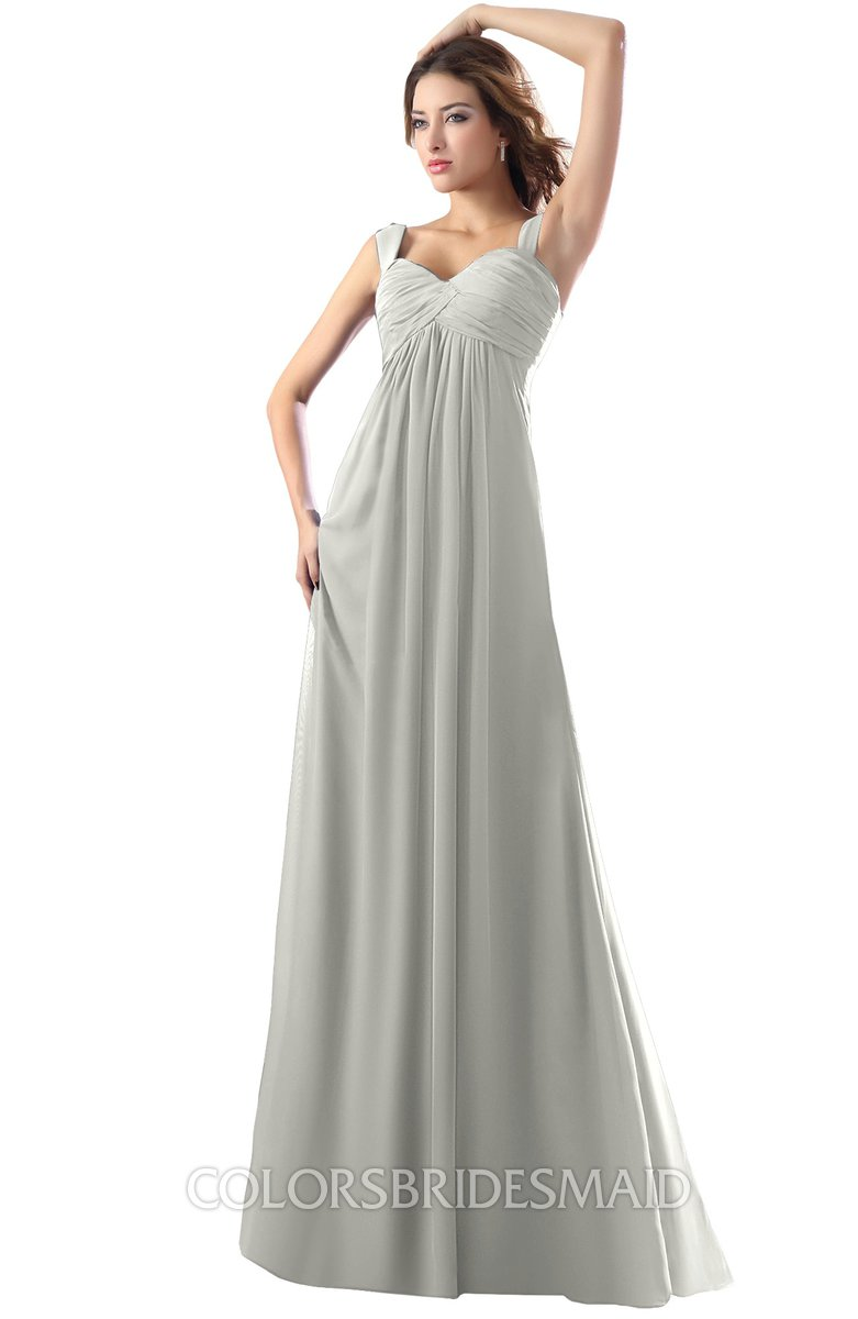 cf09e8d09c ColsBM Diana Platinum Modest Empire Thick Straps Zipper Floor Length Ruching  Prom Dresses