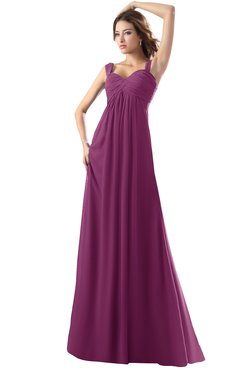 ColsBM Diana Raspberry Modest Empire Thick Straps Zipper Floor Length Ruching Prom Dresses