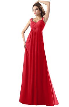 ColsBM Diana Red Modest Empire Thick Straps Zipper Floor Length Ruching Prom Dresses