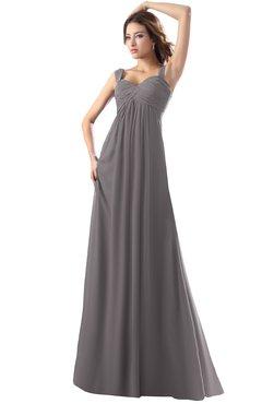 ColsBM Diana Ridge Grey Modest Empire Thick Straps Zipper Floor Length Ruching Prom Dresses