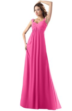 ColsBM Diana Rose Pink Modest Empire Thick Straps Zipper Floor Length Ruching Prom Dresses