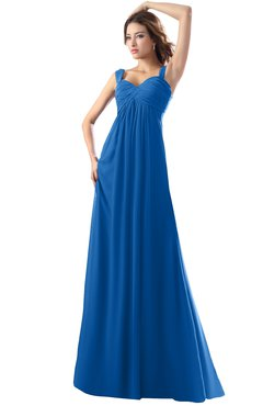 ColsBM Diana Royal Blue Modest Empire Thick Straps Zipper Floor Length Ruching Prom Dresses