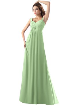 ColsBM Diana Sage Green Modest Empire Thick Straps Zipper Floor Length Ruching Prom Dresses
