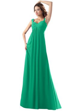 ColsBM Diana Sea Green Modest Empire Thick Straps Zipper Floor Length Ruching Prom Dresses