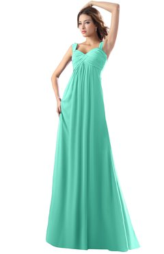 ColsBM Diana Seafoam Green Modest Empire Thick Straps Zipper Floor Length Ruching Prom Dresses