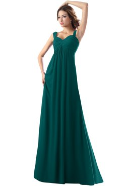 ColsBM Diana Shaded Spruce Modest Empire Thick Straps Zipper Floor Length Ruching Prom Dresses