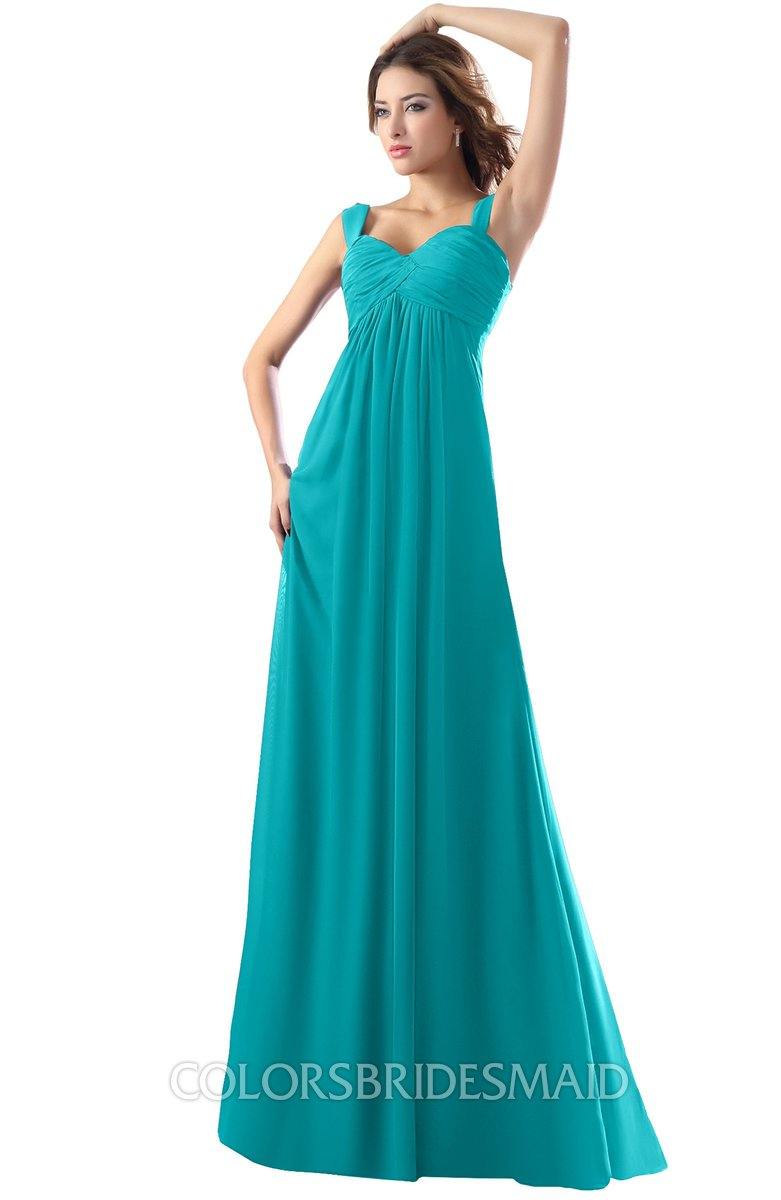 Teal Modest Empire Thick Straps Zipper Floor Length Ruching Prom ...
