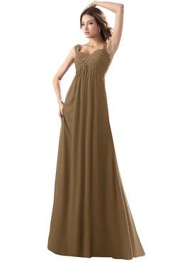 ColsBM Diana Truffle Modest Empire Thick Straps Zipper Floor Length Ruching Prom Dresses