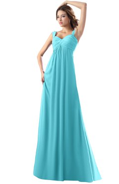 ColsBM Diana Turquoise Modest Empire Thick Straps Zipper Floor Length Ruching Prom Dresses