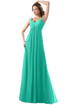 ColsBM Diana Viridian Green Modest Empire Thick Straps Zipper Floor Length Ruching Prom Dresses