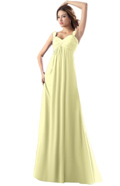 ColsBM Diana Wax Yellow Modest Empire Thick Straps Zipper Floor Length Ruching Prom Dresses